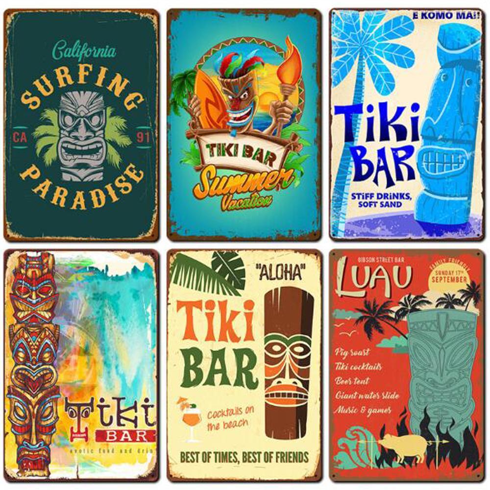20 * 30cm وعلامات معدنية لوحة تيكي بار خمر ملصقات الحائط فن الديكور الحديد الطلاء اللوحة الرئيسية، بار، مقهى، KTV جدار ديكور