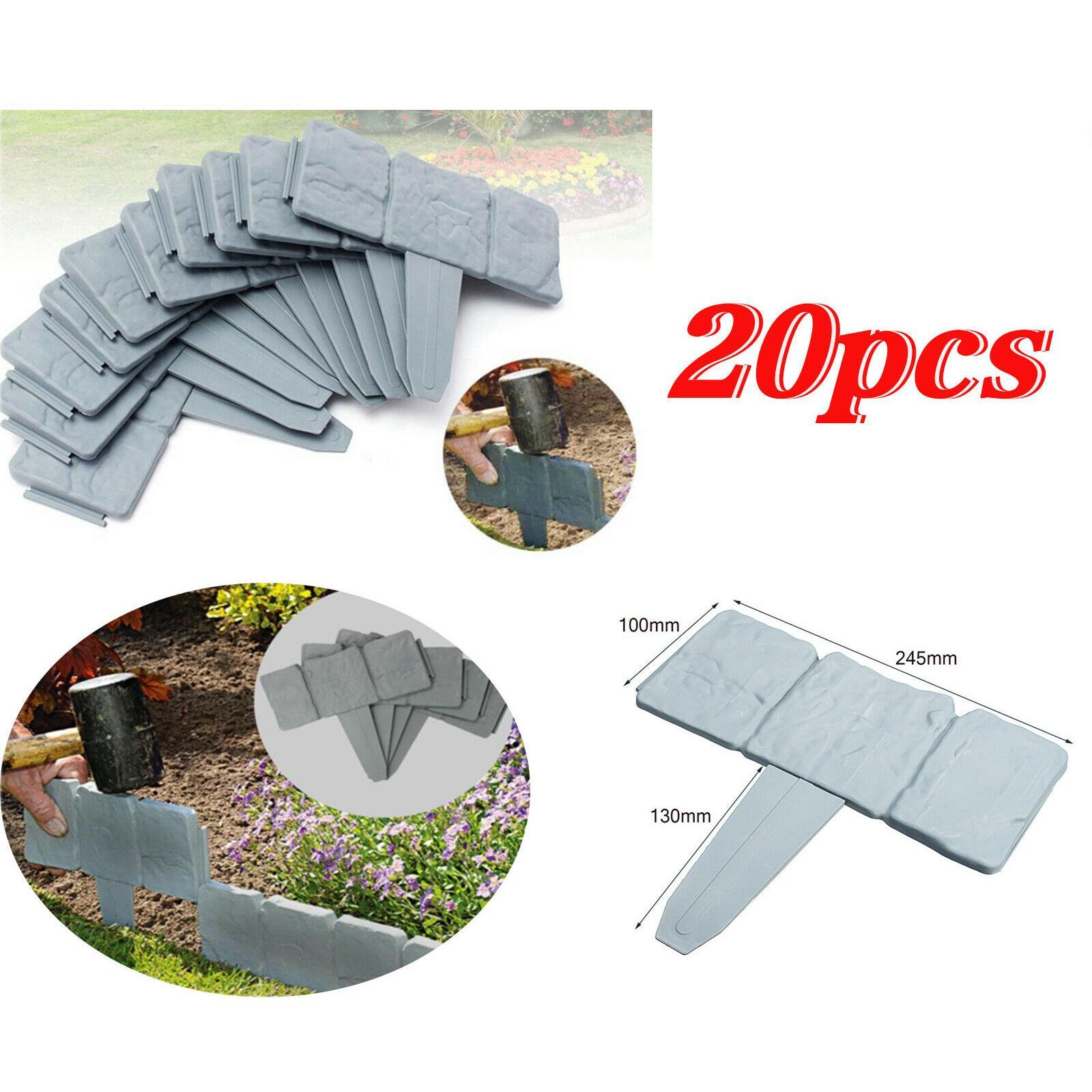 20 PCS Spring Yard Prato Giardino plastica Faux pietra Patio Border Fence Bordatura bordura domestico di DIY Accessory