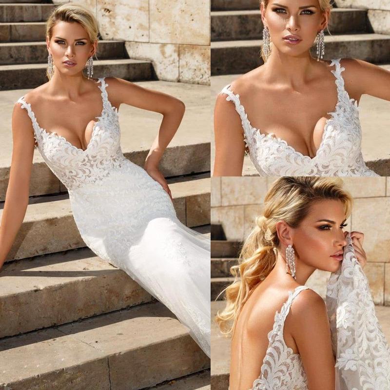 Nueva llegada romántica más el tamaño de sirena de la boda vestidos de novia cuello en V vestido de tirantes de espagueti sin espalda de encaje Vestidos de novia Vestidos de novia