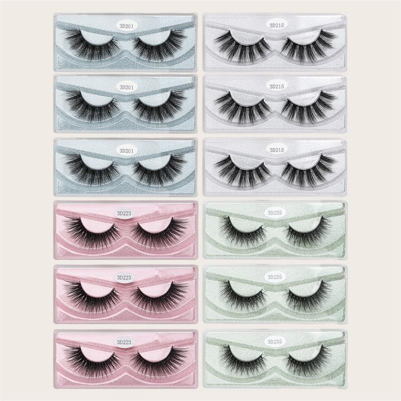 MAGEFY 12 쌍 3D 밍크 속눈썹 자연 긴 눈 속눈썹 수제 두꺼운 검은 색 가짜 속눈썹 메이크업 미용 도구
