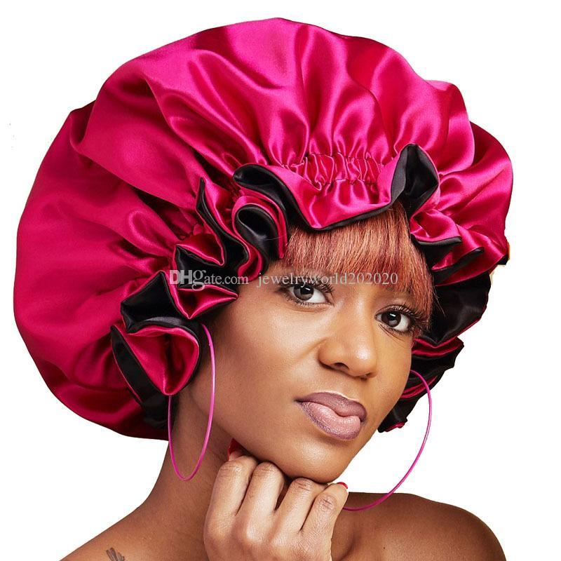 Нового Спящего сатин Тюрбан Hat Bonnet Рак мусульманских Женщины Регулируемой Кнопка Химиотерапия Шапочка волосы Cap Headwrap Аксессуары
