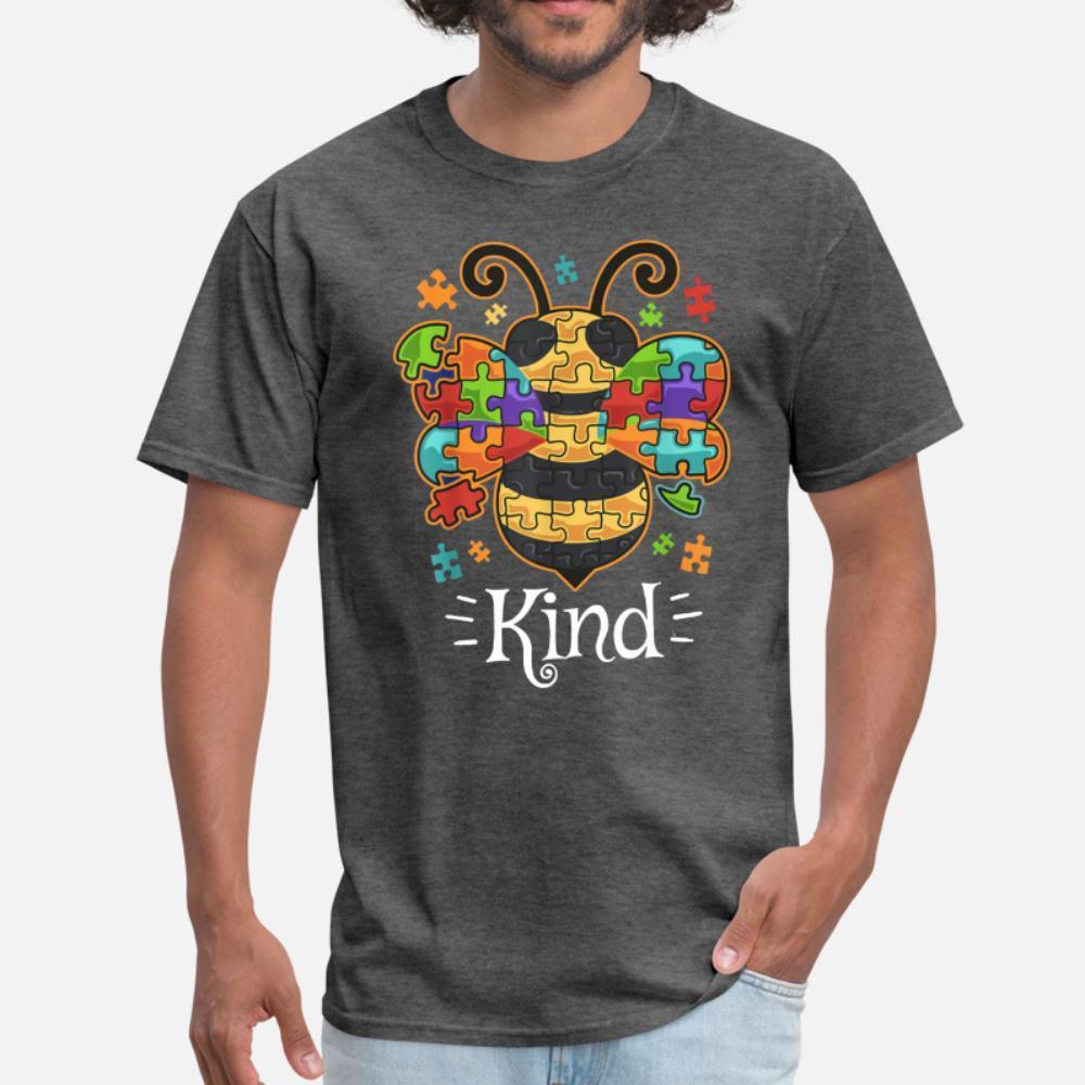 Conciencia del autismo Bumble Bee Sea bueno Autista T Shirts Traducido por hombres de la aptitud de manga corta Plus 3XL Natural aptitud cómodo Primavera Otoño