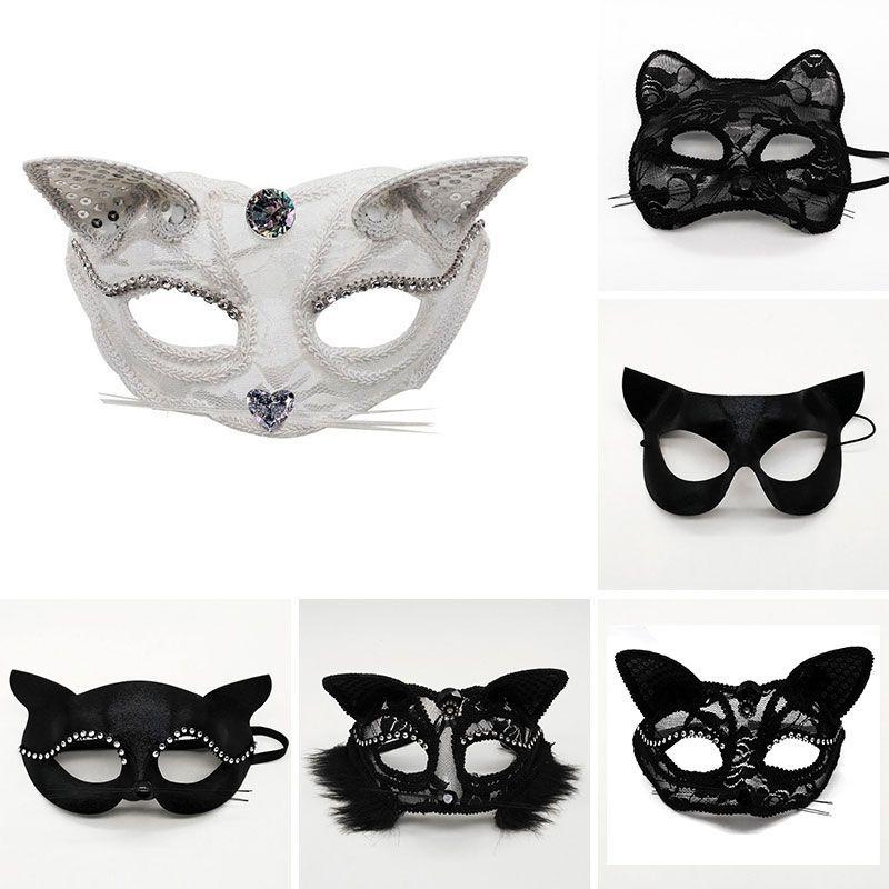 Быстрый этап косплей Доставка Хэллоуин Половина реквизита производительности маски кружева сексуальная женщина животное кошка лицо маска новогодняя маска партии F2002