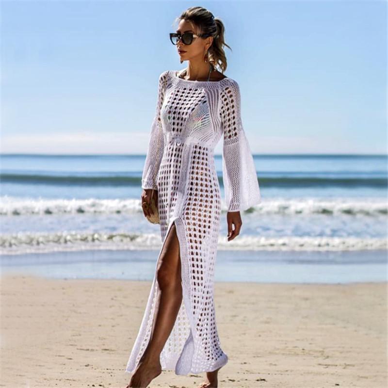 2020 Sexy White Crochet Bikini Covers-Up Бич Coat Купальник Cover-Ups Длинные Пляжная Вязаная Бикини Cover Up парео пляж платье