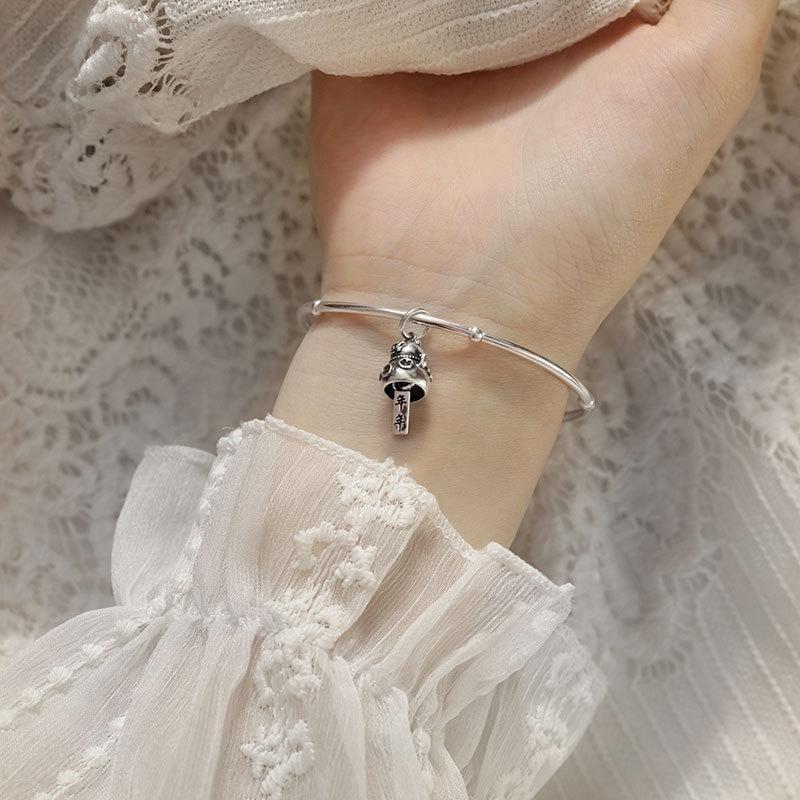 Muqi S925 argento carino fortunati braccialetto buon anno dopo anno fortuna Thai Argento gatto personalizzato braccialetto per le donne UmOrW