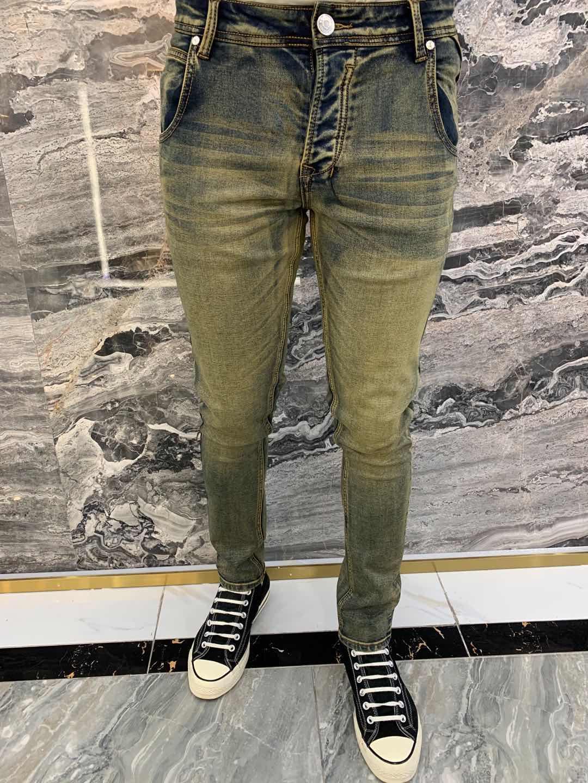 Mens Design New Designer Мужские джинсы Slim-нога Gradient Denim Male Тощий Slim-ноги карандаш штаны хип-хоп Горячие Продан Брюки РАЗМЕР 29-40