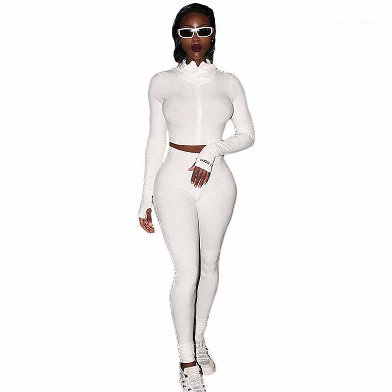 Casual Langarm Stehkragen Crop Top-lange Hosen-Frauenkleidung Frauen Zweiteiler Outfits Mode Natural Color Anzug