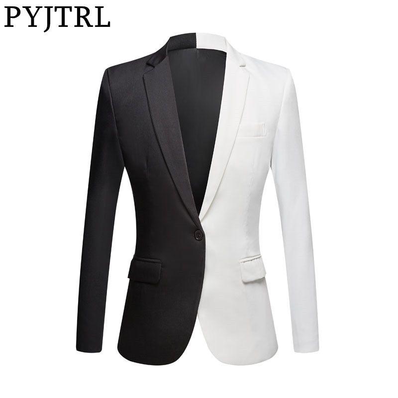 PYJTRL Yeni Moda Beyaz Siyah Kırmızı Casual Kaban Erkekler Blazers Sahne Şarkıcılar Kostüm Blazer Slim Fit Parti Balo Ceket 200922