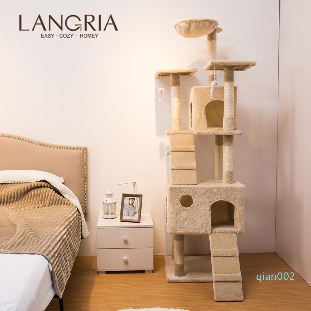 LANGRIA 68 pulgadas Multi-nivel de gato de juguete Árbol Escalada cómodo árbol Con torre juguetes grandes Hamaca gato para dormir, tiempo de reproducción