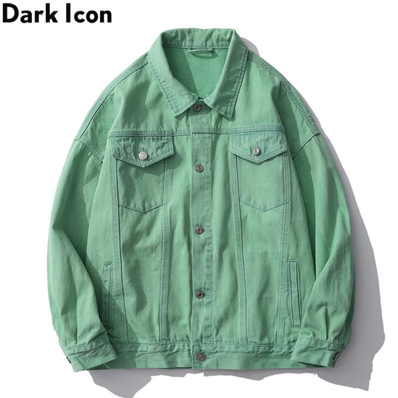 DARK Solid Color Washing-Material Jeansjacke Männer Drehen-unten Kragen-Männer Jacken Freizeit Bekleidung Oberbekleidung Man Kleidung