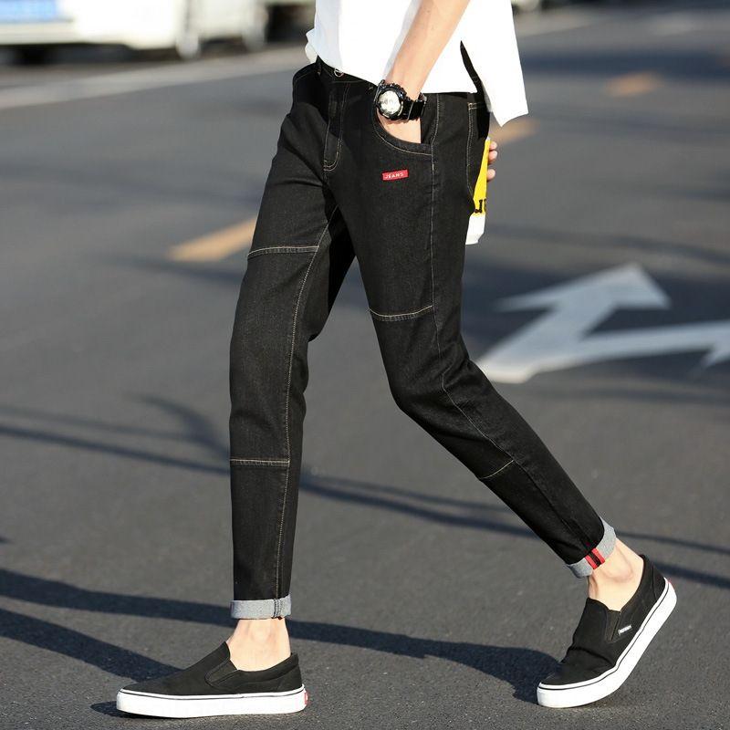 XsQbU 2020 neue Männer enge Jeans enge Hosen Jeans festen Farbe Stretch-Leggings Männer Slim Fit Casual koreanische Art 9-Punkt-Hosen für Teenager