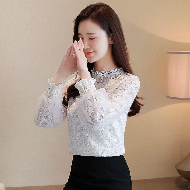 All-Gleiche Super Fee Bluse süße Spitze Hemd mit weißer Laterne Hülsenspitze im westlichen Stil Shirt Boden