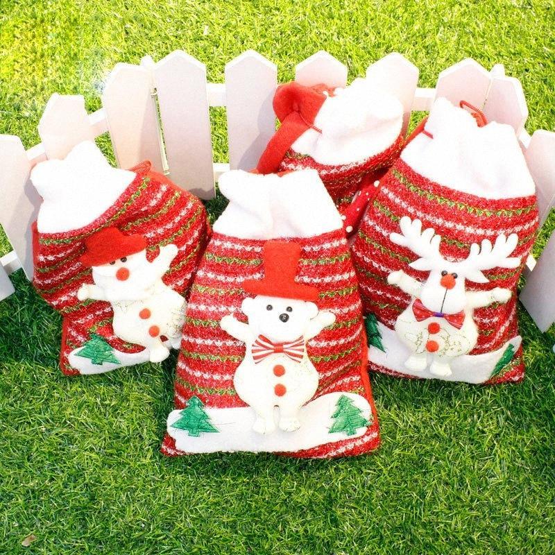 Сант-Клаус мешок Рождественского подарок сумка Толстой Нетканый Рождественский подарок Белого Олень одевается Новый год семья украшения 18x24cm IxR3 #