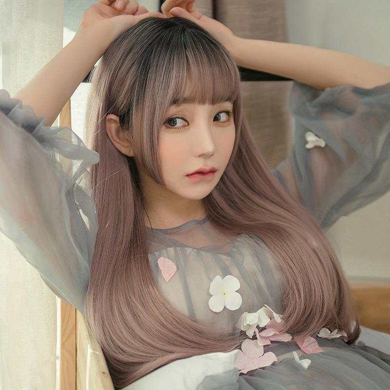 Wig female long straight hair cos net celebrity jellyfish princess cut Ji style lolita Japanese anime full headgear