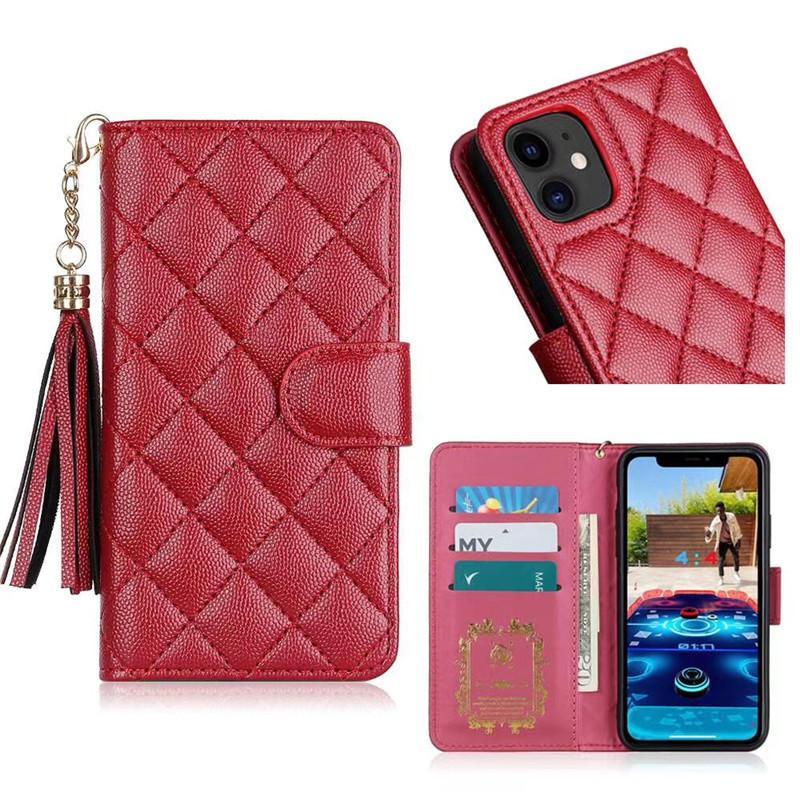 아이폰 11 12 Pro Max Fashion Wallet Flip Cover iPhone X XR XS Max 8 7 6s Plus에 대 한 최고 디자이너 럭셔리 가죽 전화 케이스