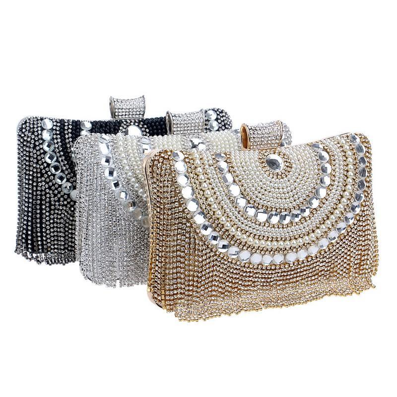 Strass Quaste Clutch Diamanten wulstige Metall-Abend-Beutel-Ketten-Schulter Kurier-Geldbeutel-Abend-Beutel für Hochzeit Bag