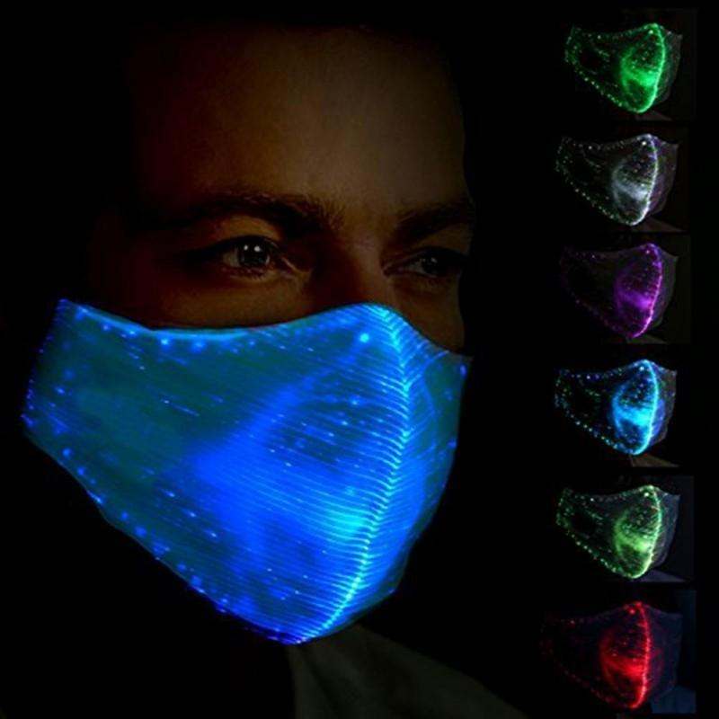 Fashion Glowing Party Mask With PM2.5 Filter 11 Colors Luminous LED Face Masks for Christmas Halloween Festival Masquerade Rave Mask FY0065