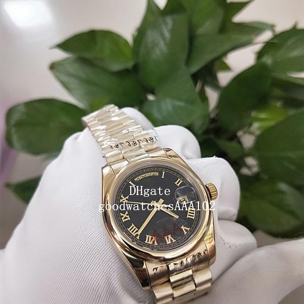 de mayor venta Relojes de Asia 2813 ETA Movimiento de oro amarillo de 18K 36mm Dial Negro 118208 316L mecánico automático de alta calidad de los hombres Wa