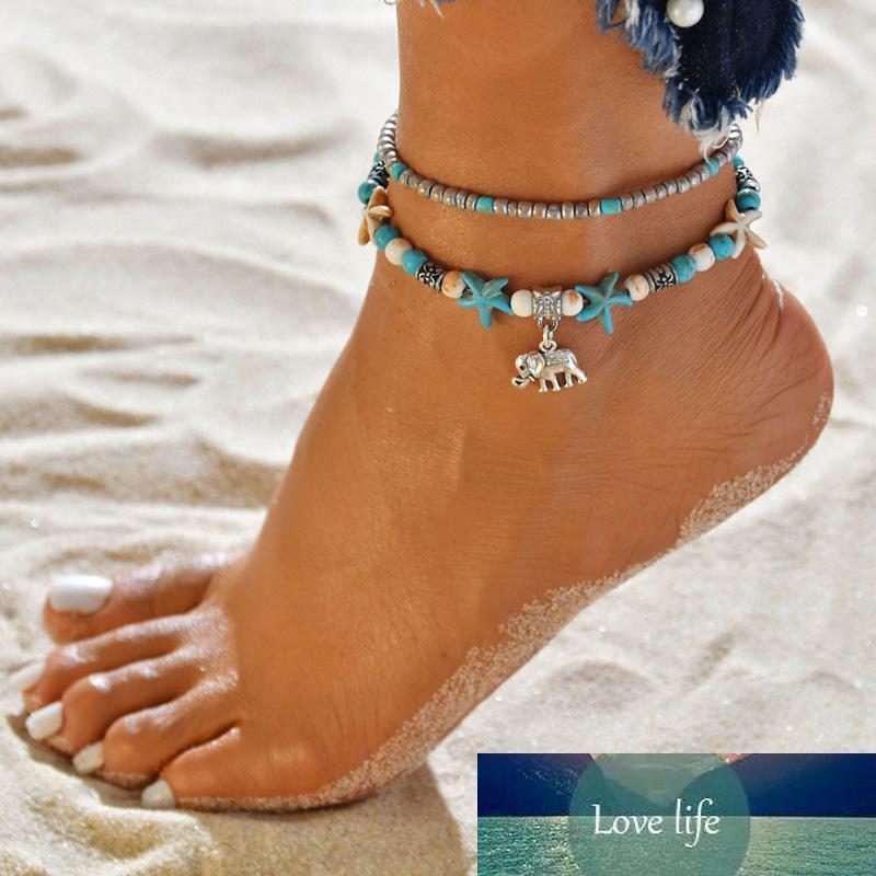 Kadınlar Vintage Turkuaz Boncuk Zincir Fil Denizyıldızı Charm Halhal Bilezik Ayak Takı için Trendy Barefoot Sandalet Yaz Plaj Halhallar