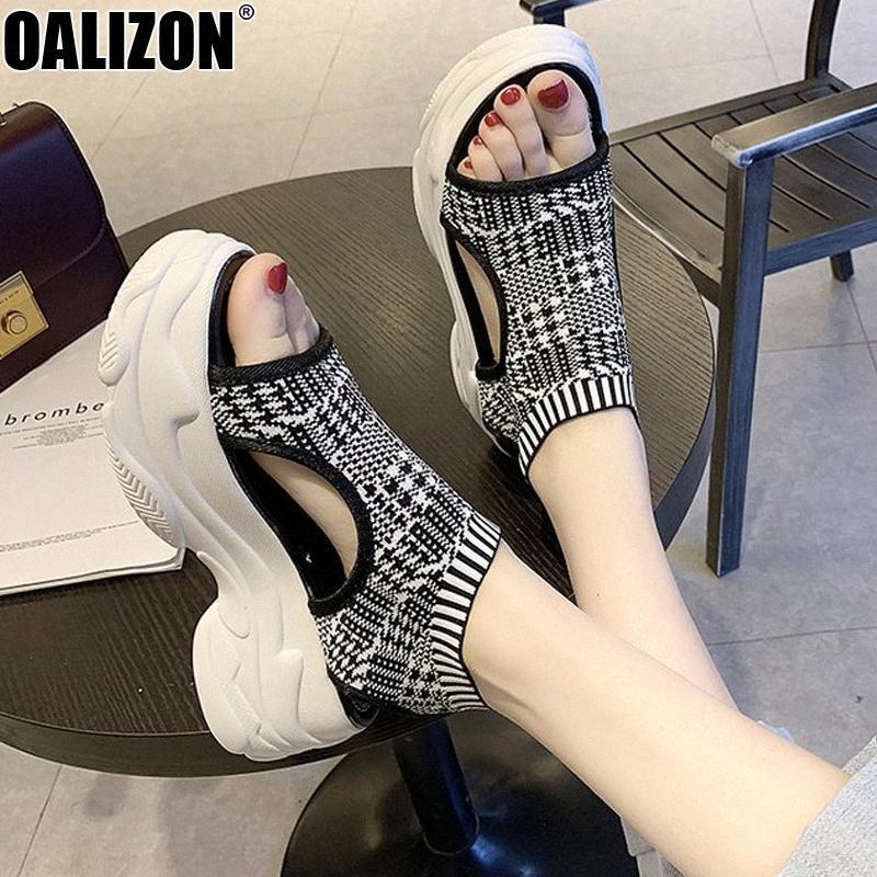 Estival été Femmes Mode Peep Toe Casual Élastique Tissu élastique Mujer Femme évider épais Soled Sandales femme Chaussures R447 ATmK #
