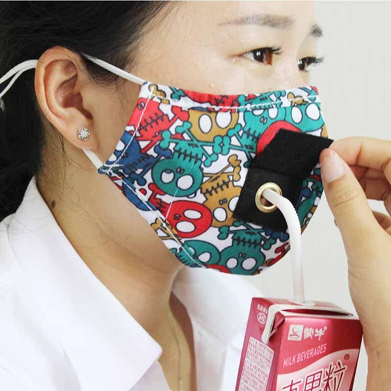 Máscara novo partido Máscaras Bebida Adulto Anti PM2.5 poluição Nevoeiro Cotton Mouth palha reutilizável lavável Dustproof Capa protetora Rosto