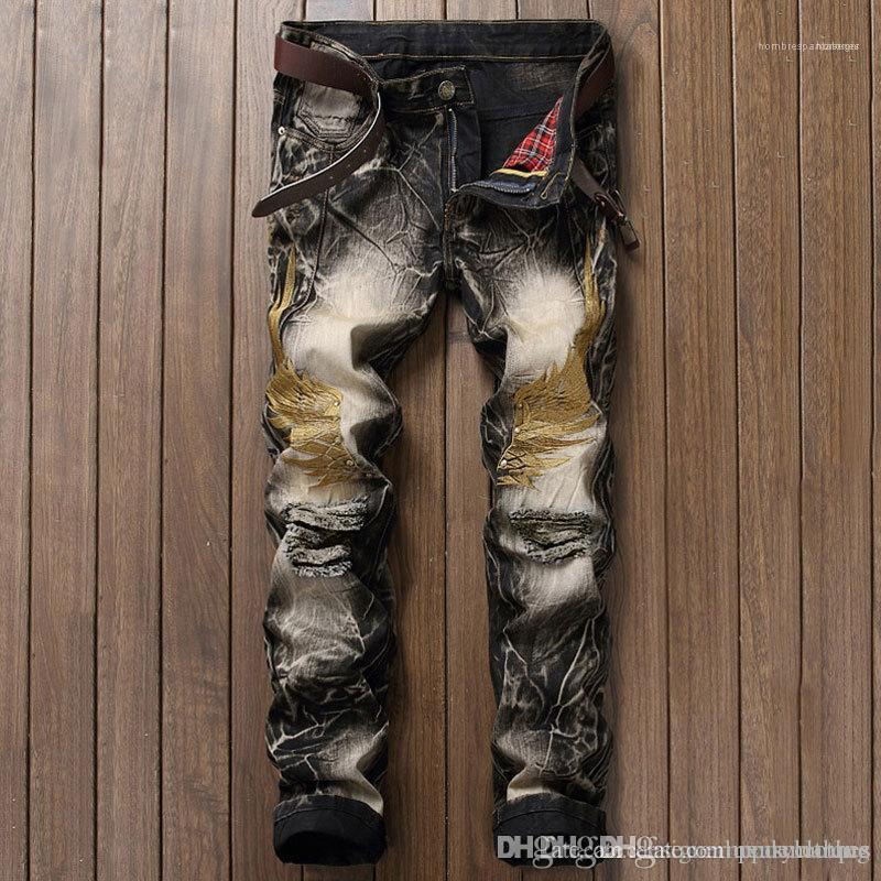 Kot Düz Moda Slim Fit Erkek Pantolon Şık Genç Düz Kanat Nakış Jeans Mens Tasarımcısı Ripped