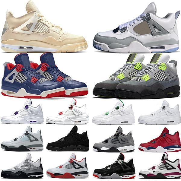 Nike Air Jordan 4 Retro Top 4 4 s Homens Sapatos De Basquete Novo OG Criados Para 2019 Tatuagem Branco Cimento Singles Dia Sapatos De Grife Esporte Tênis Tamanho 8-13