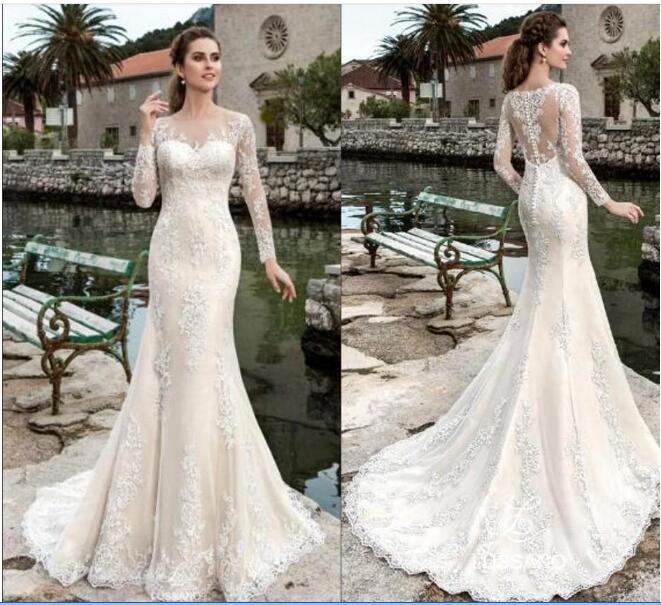 Sheer manga comprida casamento elegante Vestidos New Jewel Neck com laço apliques Longo Vestido De Novia botão Voltar vestidos de noiva BA4365