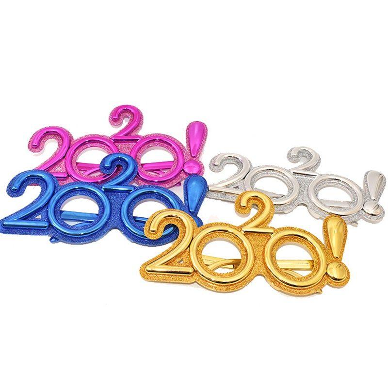 2020 Happy New Year Occhiali glitter plastiche Prop Eyewear Funny Kids per occhiali giocattolo per feste di arredamento 6 8SF E1