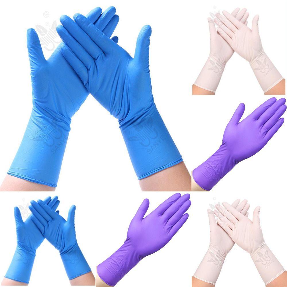 Нитрильные 50шт одноразовый сгущает Extended резиновых перчаток одноразовых перчаток для общественного питания промышленного г J0vw