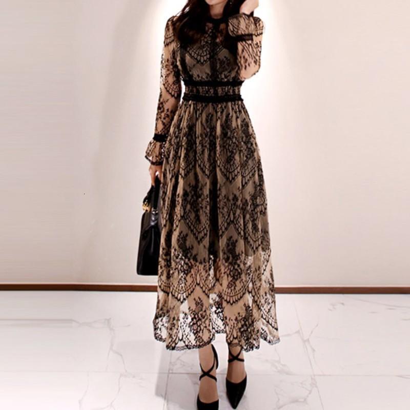 2020 Primavera elegante vestido sexy por Mulheres Vintage Lace Sleeve O-Neck Robe Femme OL Casual fino partido Mulher vestidos longos