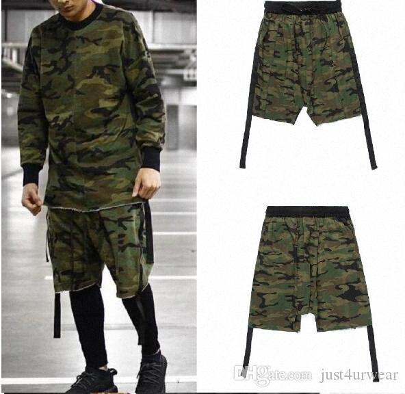 Uomo di Hip Hop Designer Camouflage elastico in vita biforcazione Pantaloncini High Street a cinghia e pantaloni di scarsità di modo maschio bicchierini casuali di MyWM #
