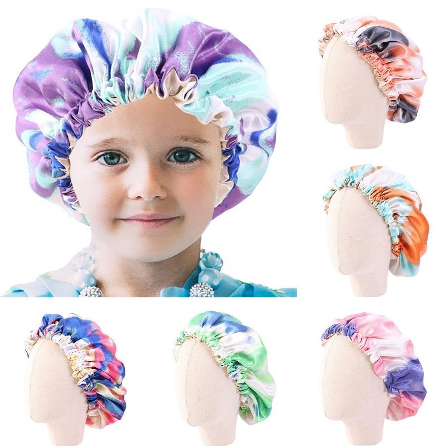 Kinder Reversible Satin Bonnet-Hut-Mädchen Double Layer mit veränderbarer Länge Nachtschlaf Kappebeanie Gebrauchte lockiges Haar Zubehör zu schützen