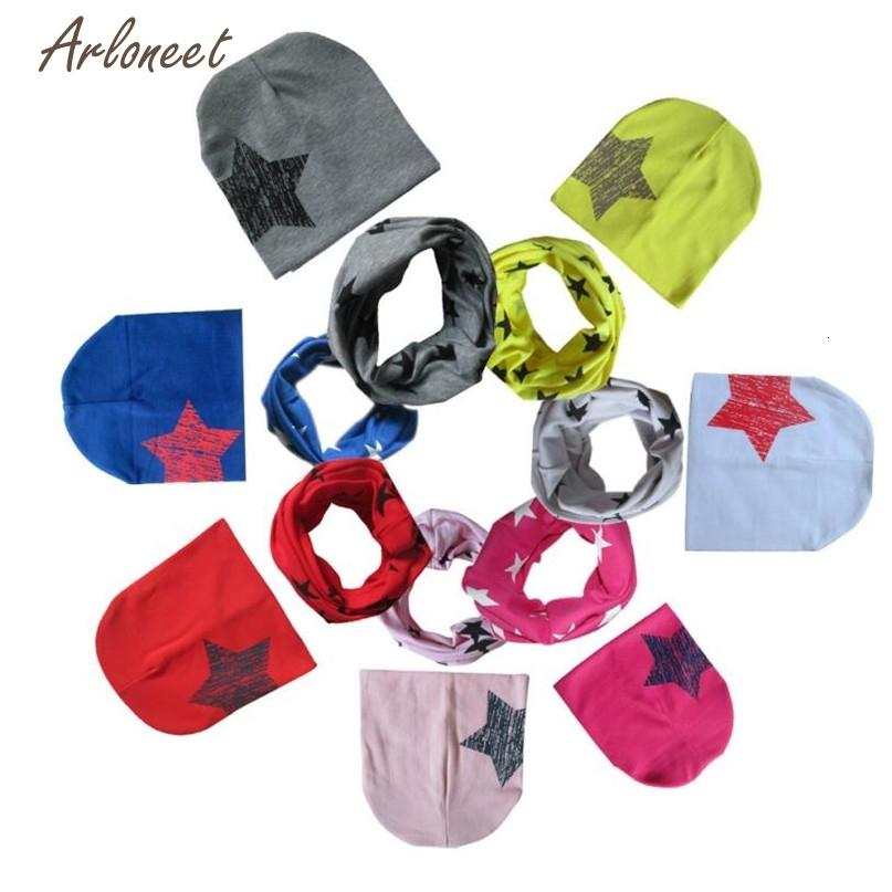 7 Colors Cute Fashion New Baby Hat Boys Girls Print Star Child Scarf Hot drop shipped ST25 Deals