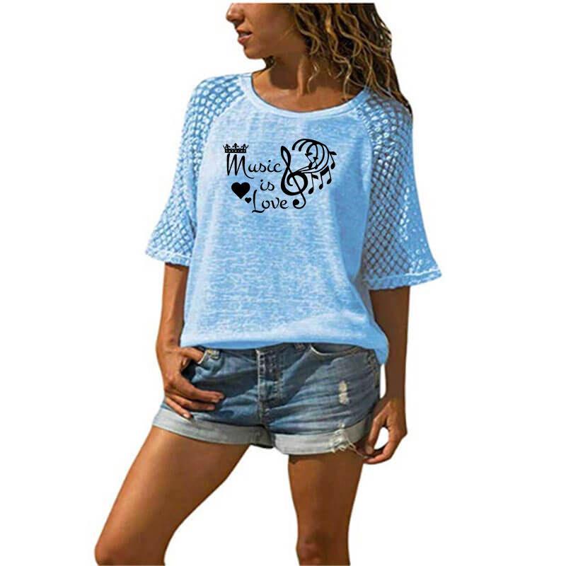 Music is Love Crown Heart Letter-Druck-T-Shirt Weibliche Spitze T-Shirt plus Größen-Frauen-Musik-Liebhaber-Geschenk Sommer Netter Tops