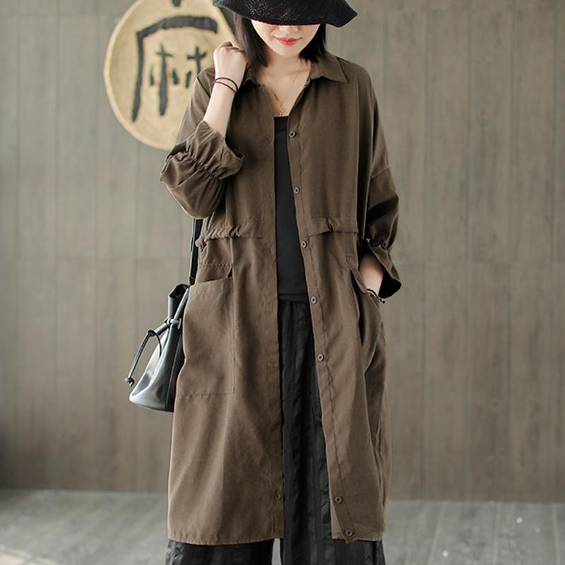 Bahar AZ1961529 için Kadınlar Mikrofiber WINDBREAKER Ceket Dış Giyim Büyük Gevşek Uzun Retro Vintage Moda Günlük