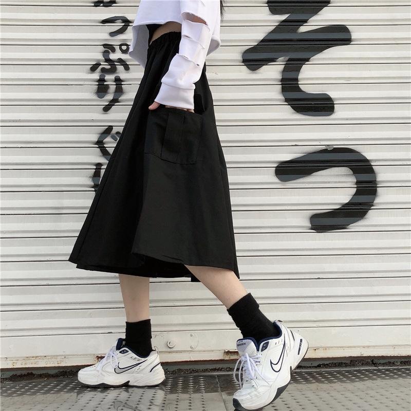 Z0rEi 7Fxtv hoch und Rock Student vielseitig japanischen Rock A-förmige mittellange Herbst Waist Overalls Overalls Winterfrauen in trendy kühlen
