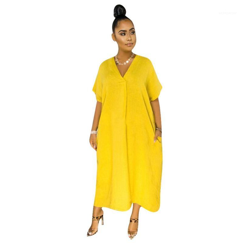V шеи платья вскользь Сыпучие сплошного цвета платье Мода Плюс Размер одежды Женщины Конструкторы женщин лето