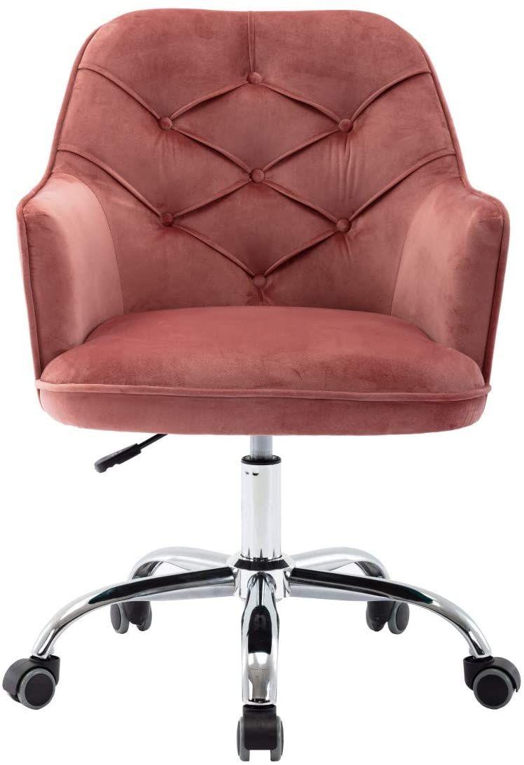 Makeup Vanity sedia con ruote, Round trapuntato girevole Shell Chair, Altezza regolabile a 360 ° Imbottiti Home Office Accent Sedia per camera da letto