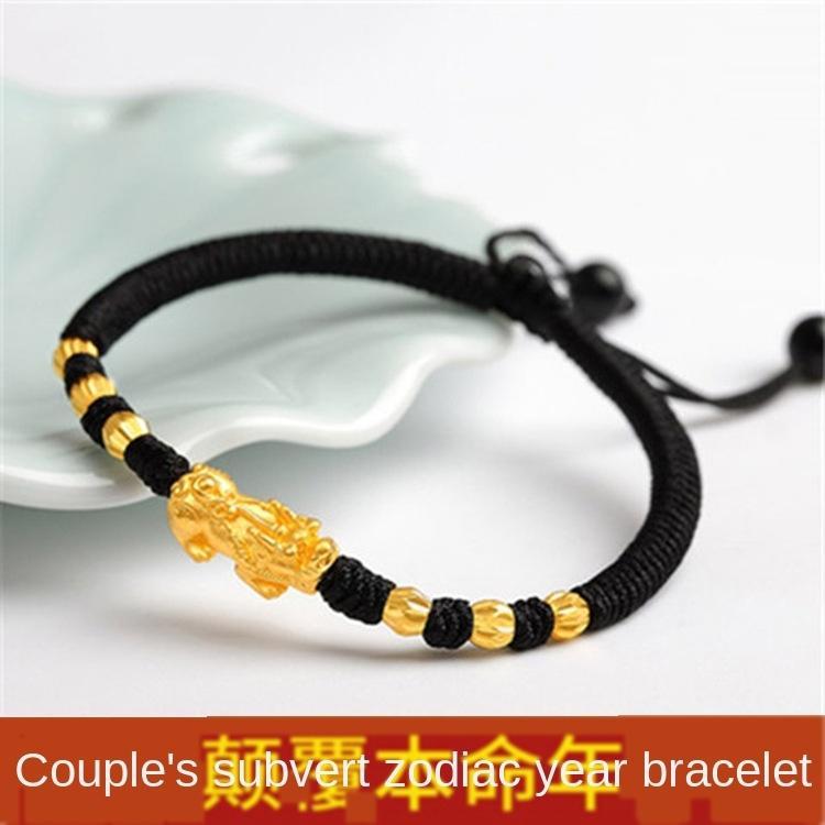 Латунь -plated имитация ювелирных изделий год пара подарка ручной работы бисером красное золото золотой браслет браслет веревочки