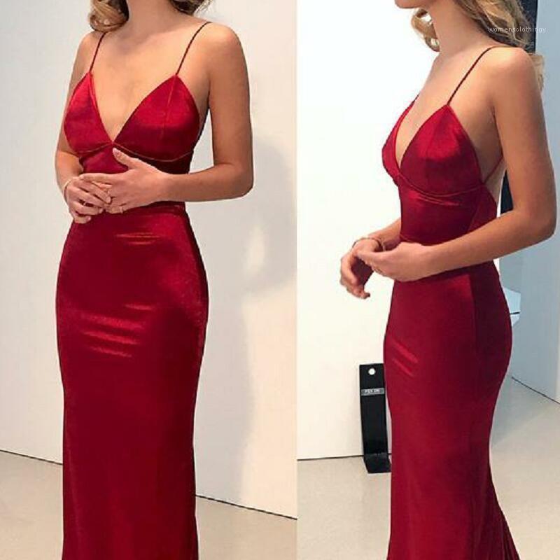 Dresses Red Spaghetti Strap V Neck Backless Slim Dress Fashion Women Summer Dresses Sexy Women Evening