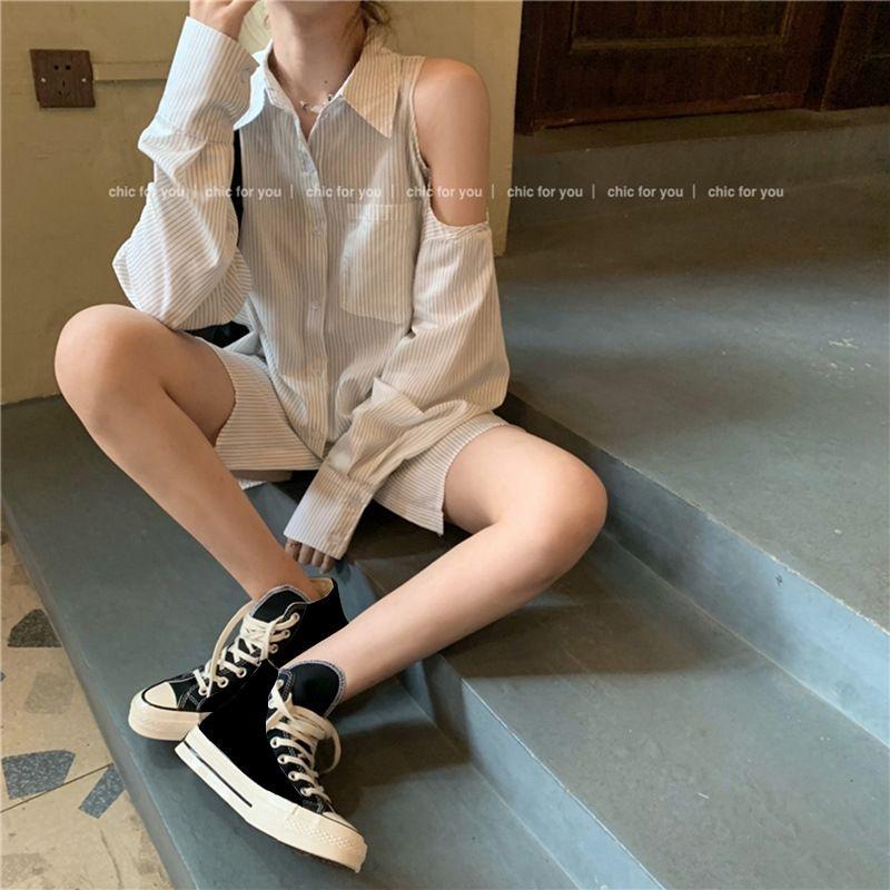 Qy8Wm xsmmd spalla superiore a prova di sole camicia a righe nuova estate shirt Top allentata di lunghezza media manicotto delle donne lungo e sottile