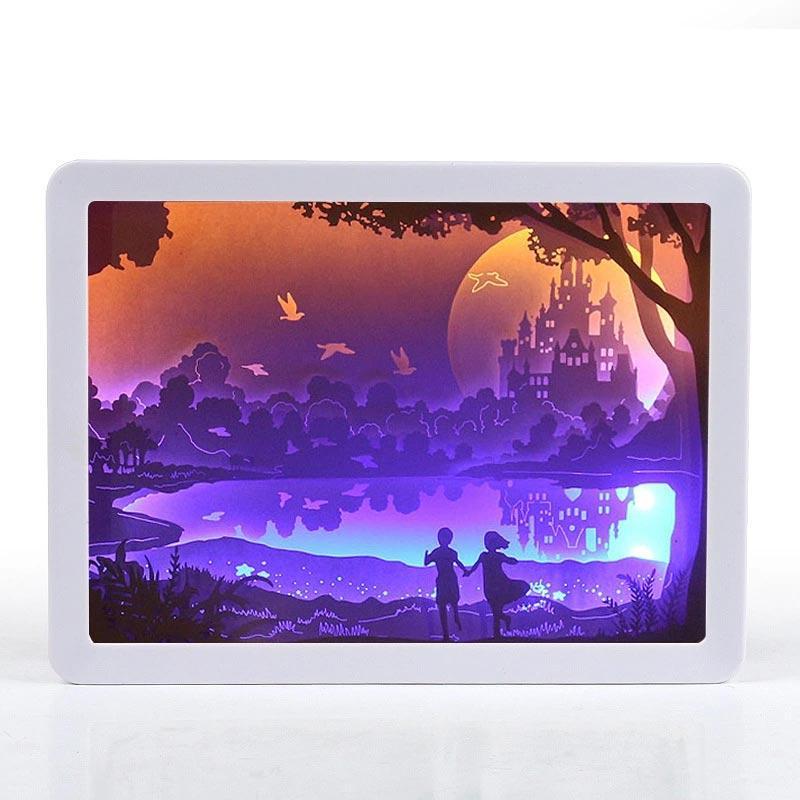 ورقة الإطار 3D نحت النحت ضوء مربع ليلة ورقة ضوء الليل ضوء الإبداعية الظل لوحة أضواء Papercut نحت مصباح