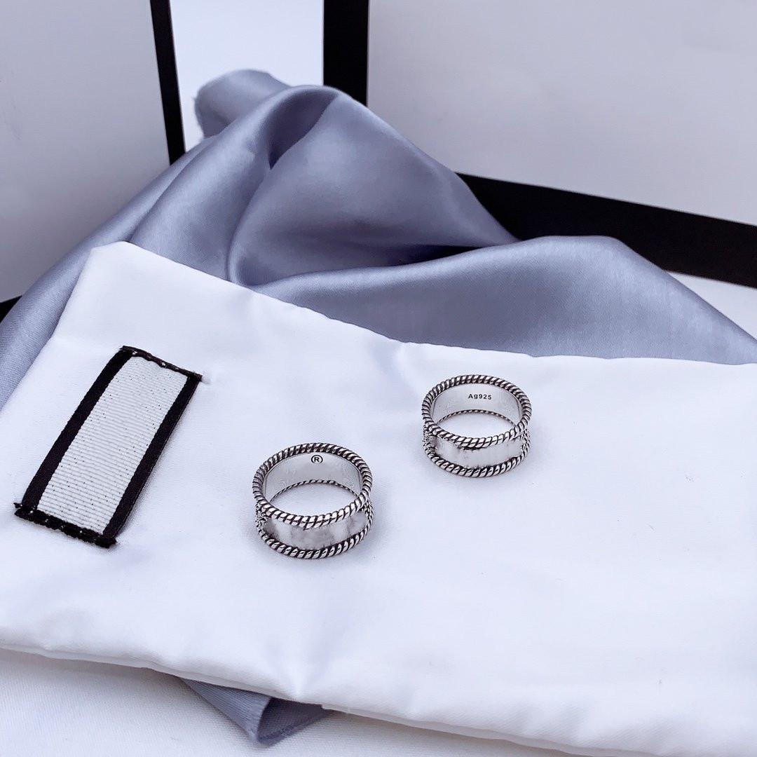 Letter Interweaving Pattern Ring 925 Sterling Silver Ring Old Carved Rough Lace Ring Simple and Versatile Fashion Jewelry