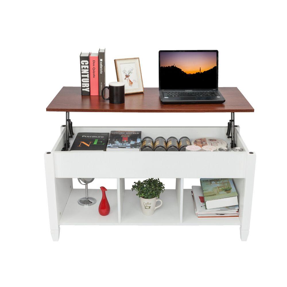 Nova mesa de café superior com compartimento escondido e prateleiras de armazenamento moderna moda sala de estar branco