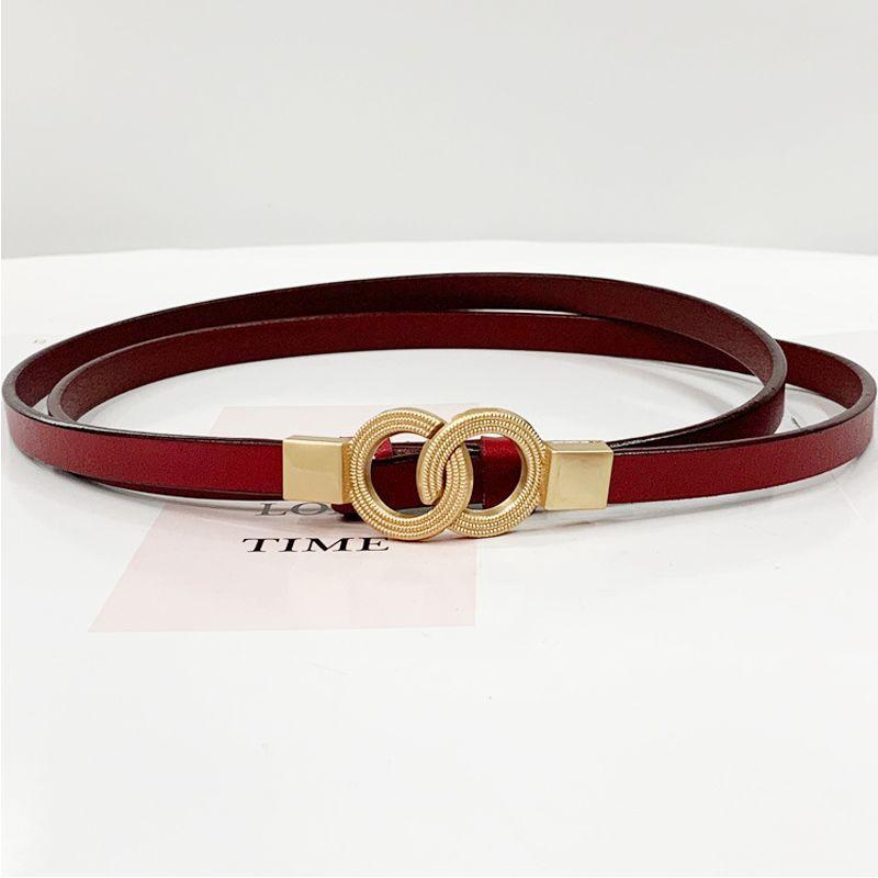 Cintura cinghie designer di cuoio di lusso delle donne del doppio anello donna magra Facile Vita Cintura Femme vestito nero da modo regolabile 2020