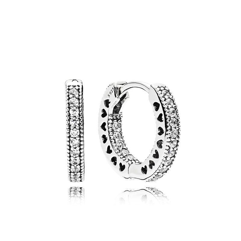 Сердце Хооп серьги Пандоры стерлингового серебра 925 Малый серег женских мужские серьги