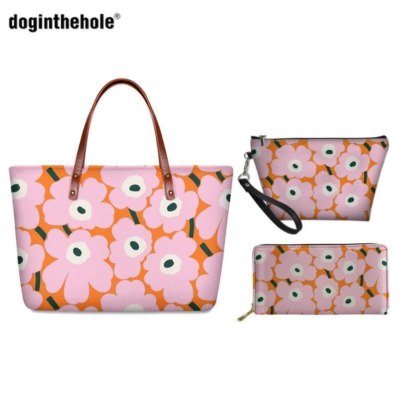 Doginthehole Estate femminile Borsa papavero per le signore Nordic Flower Stampa donna borse di marca del progettista delle donne della spalla Crossbody Borse