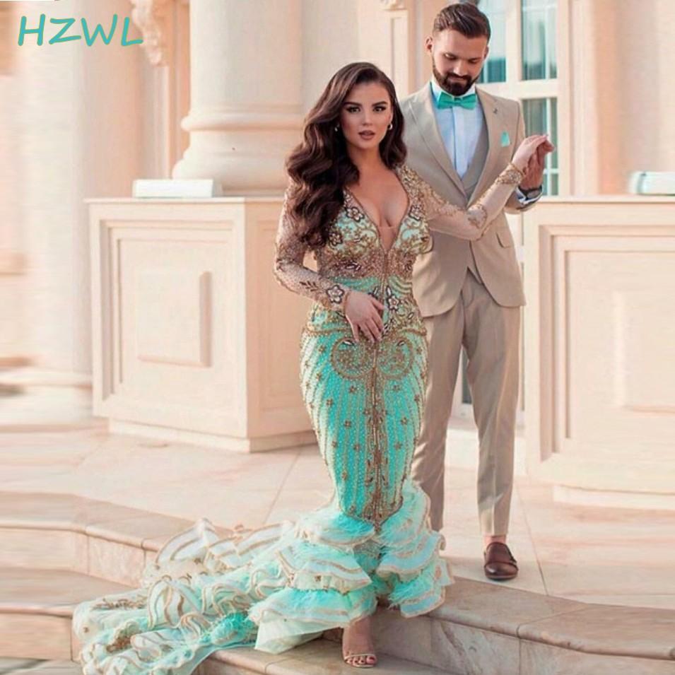 2021 Profundo enr cuello sirena vestidos de fiesta turquesa y dorado vestidos de noche con cuentas de oro más tamaño alto trenes de barrido alto vestido formal fiesta formal