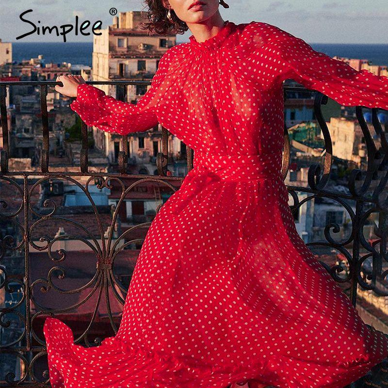 Simplee Autumn women Elegant polka dot print female long party Holiday style ladies ruffle maxi dress vestidos MX200804